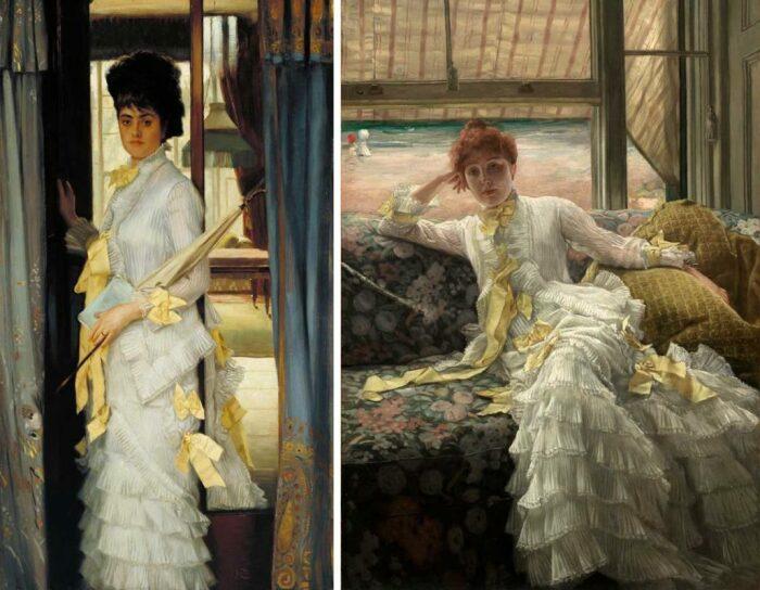 Слева направо: Портрет мисс Ллойд, Джеймс Тиссо, 1876. \ Портрет Кэтлин Ньютон, Джеймс Тиссо, 1878 год. \ Фото: pinterest.ru.