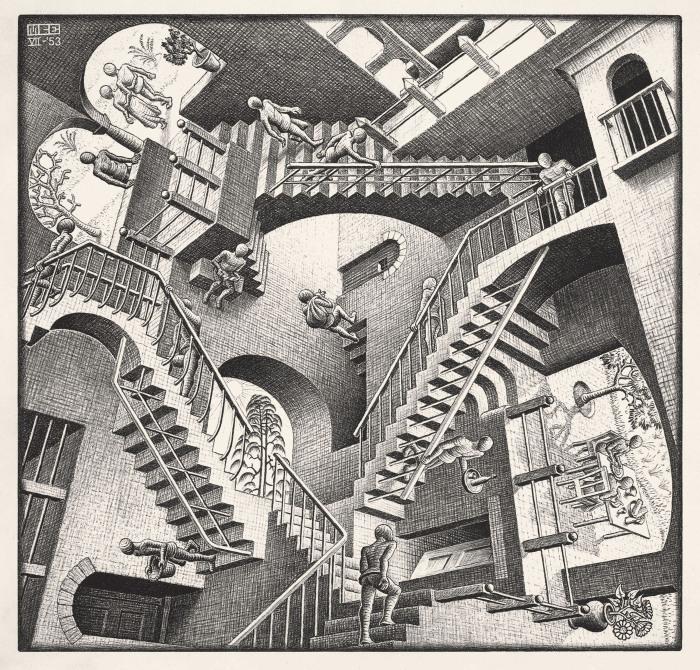 Теория относительности (Относительность), Мауриц Корнелис Эшер, 1953 год. \ Фото: svelandohaydee.com.