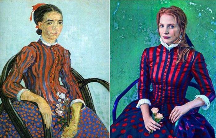 «Японочка», художник Винсент Ван Гог, 1888 год и Джессика Честейн для Vogue, 2013 год, (коллекция одежды от Alexander McQueen).