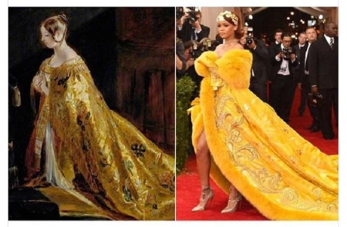 Королева Виктория в «Коронационных одеяниях» Чарльза Роберта Лесли, 1838 год и Рианна, 2015 год.