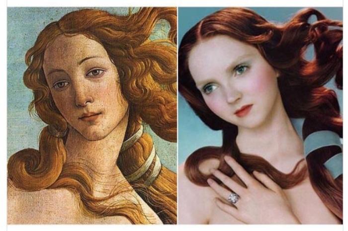 «Рождение Венеры», художник Сандро Боттичелли, 1486 год и кампания «De Beers» с участием Лили Коул, 2005 год.