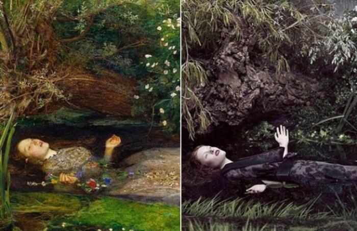 «Офелия» Джон Эверетт Милле, 1851-1852 гг. и «Офелия с мечтой» Михары Ясухиро, 2012 год.