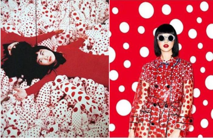 Инсталляция «Бесконечная зеркальная комната», художник Яёй Кусама, 1965 год и совместная коллекция Яёй Кусама и Луи Вуиттона, 2012 год.