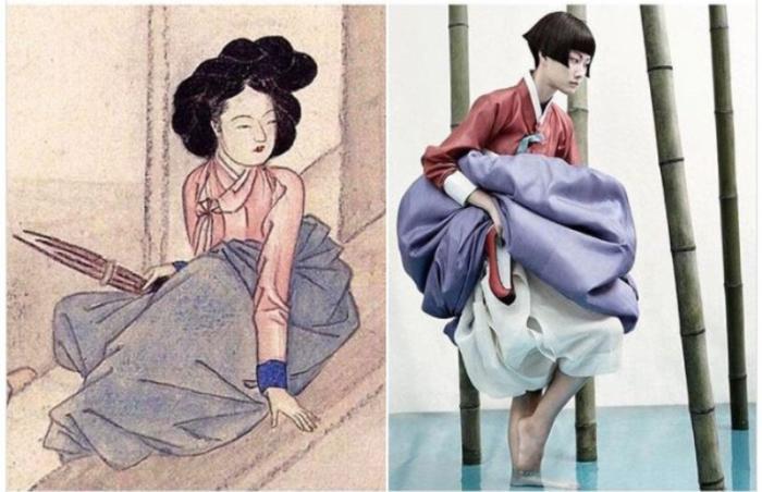 «Hyewon Pungsokdo», художник Шин Юнь-бок (после 1805 года) и «Полная история луны», фотограф Ким Кьюн Су для Vogue Korea, 2008 год.