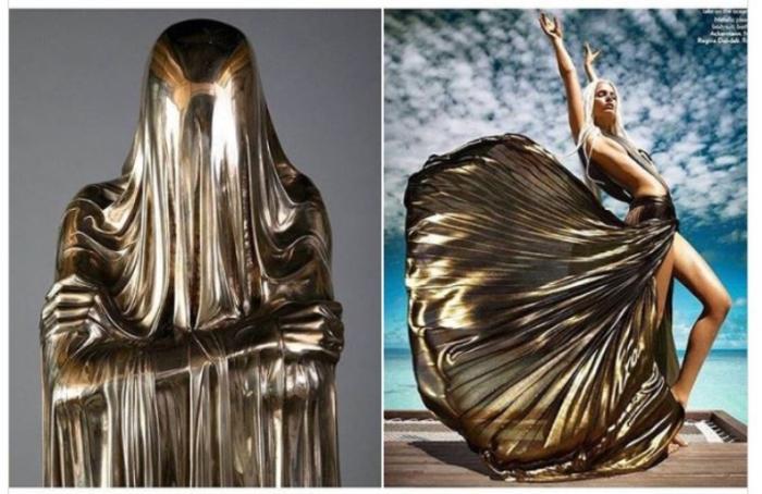 «Без лица, скульптор  Кевин Фрэнсис Грей, 2007 год и Хайдер Акерманн для Vogue India, 2012 год.