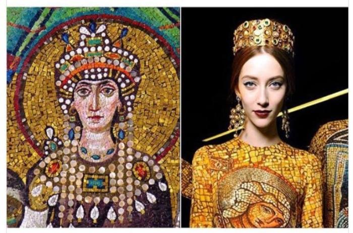 Мозаика императрицы Теодоры в церкви Сан-Витале, 547 год и  осенняя коллекция Dolce & Gabbana, 2013 год.