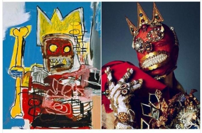 «Без названия» («Жёлтый костяной король»), художник Жан Мишель Баскиа, 1982 год и коллекция «Artisanal Bride» от Maison Margiela, сфотографировано Тксема Ест для Vogue Russia, 2015 год.