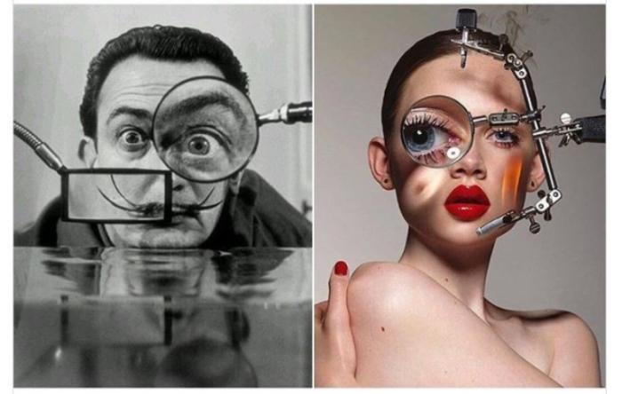 Сальвадор Дали, сфотографированный Вилли Риццо, 1953 год и «Маска» Донны Тропе для журнала  «Under the Influence», 2015 год.