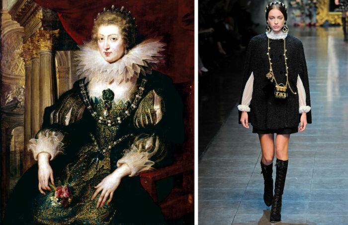 Слева направо: Портрет Анны Австрийской,  Петер Пауль Рубенс, 1621-25 гг. \ Модель Люсетт Ван Бик  на показе мод Dolce & Gabbana, осень 2012 года. \ Фото: google.com.