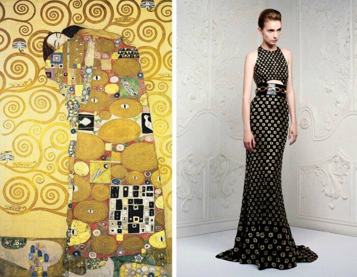 Слева направо: Объятия, Густав Климт, 1905 год. \ Платье из курортной коллекции Alexander McQueen, 2013 год. \ Фото: pinterest.ru.