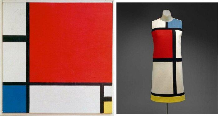 Слева направо: Композиция с красным, синим и жёлтым, Пит Мондриан, 1930 год. \ Платье Mondrian от Yves Saint Laurent, коллекция осень/зима 1965 года. \ Фото: yandex.ua.
