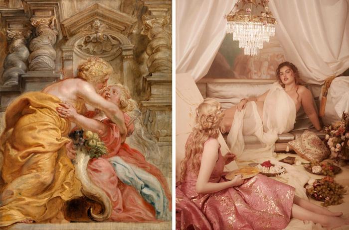 Слева на направо: Одна из работ Питера Пауля Рубенса, 1634 год. \ Фото: Модная коллекция Dolce & Gabbana на осень/зиму 2020 года. \ Фото: zhuanlan.zhihu.com.