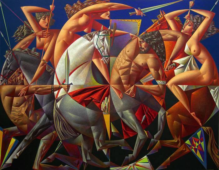 Битва амазонок и кентавров. Автор: Георгий Курасов.