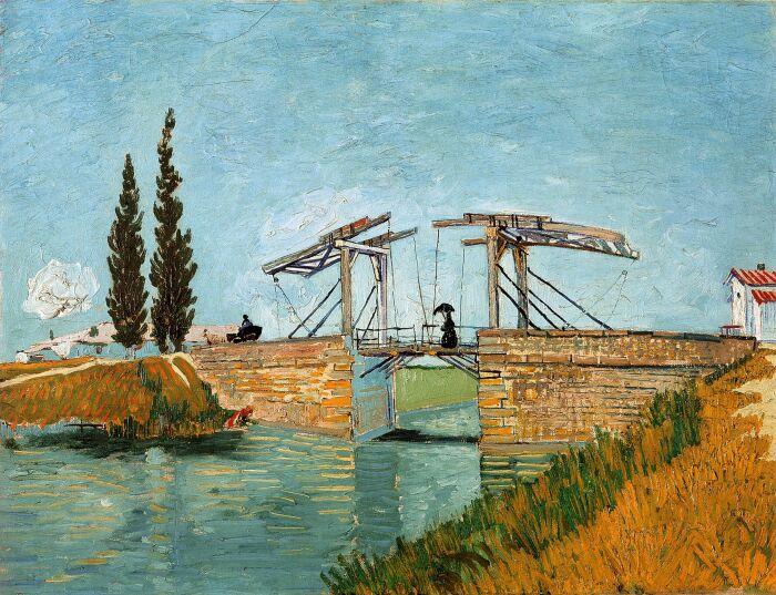 Мост Ланглуа в Арле,  Ван Гог, 1888 год. \ Фото: reddit.com.