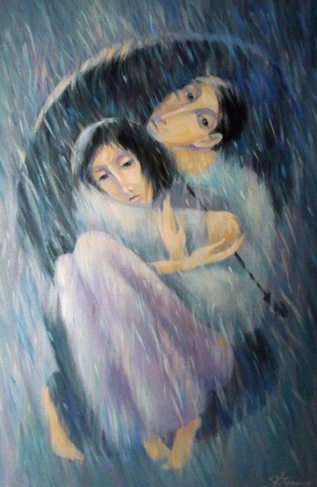 Один на двоих зонт. Автор: Кира Панина.