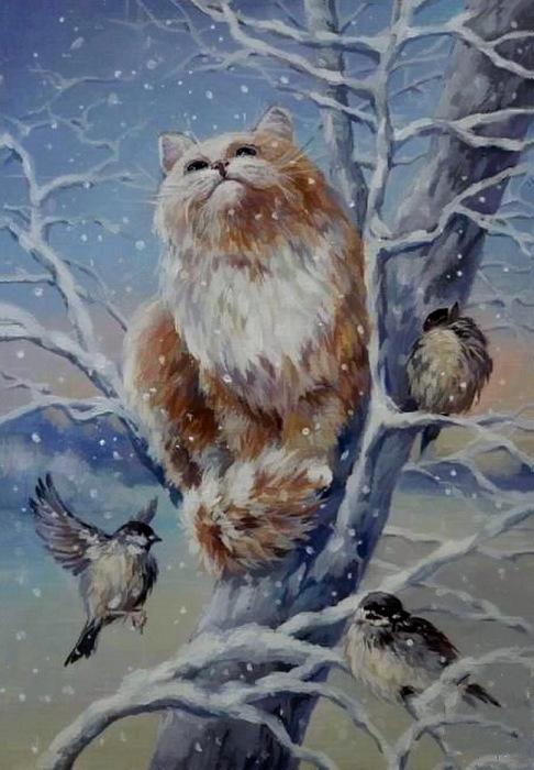 Кот и синицы. Автор: Кира Панина.