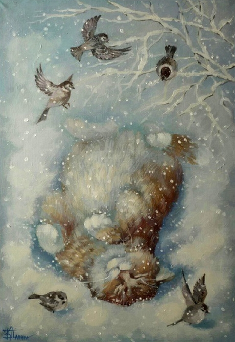 Хорошо лежать в снегу. Автор: Кира Панина.