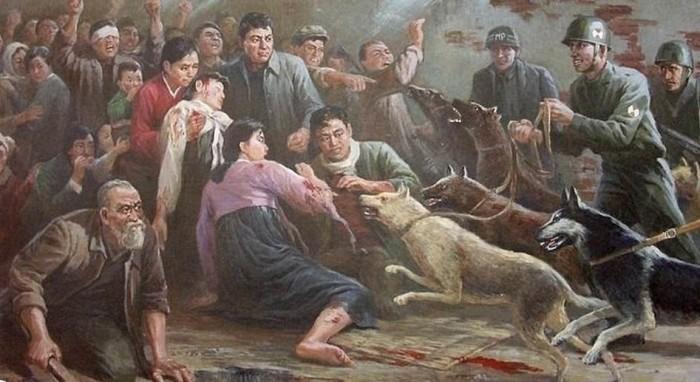 Американцы травят корейцев - слабых и раненых, женщин и детей, - собаками.