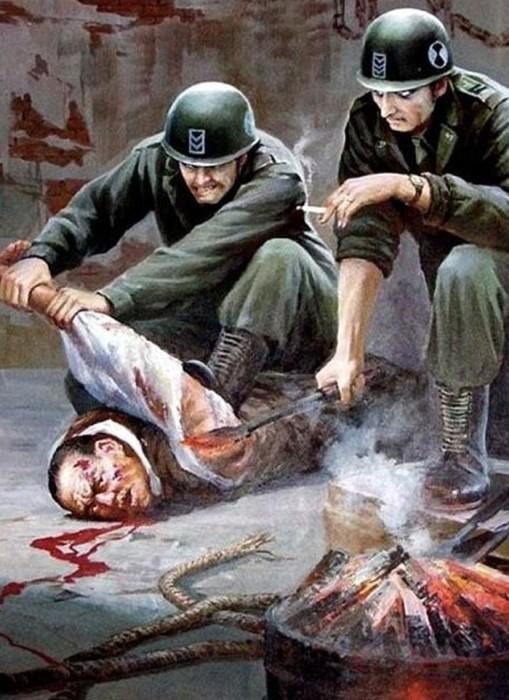 На пропагандистских плакатах главные убийцы - исключительно американцы.