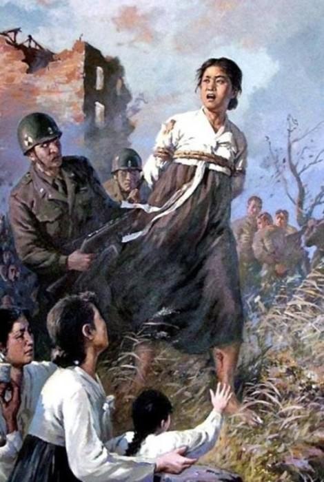 Американские солдаты ведут на расстрел мать на глазах у детей.