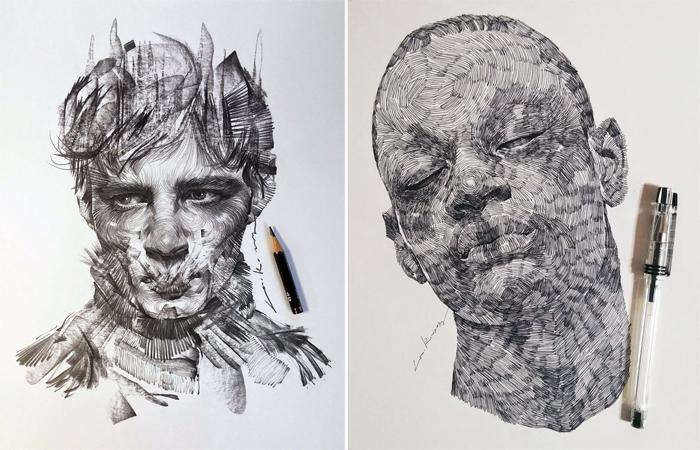 Монохромные портреты, выполненные карандашом и чернилами. Автор: lee.k.