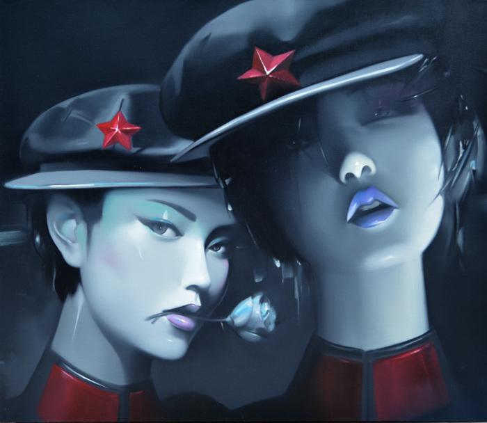 Провокационный поп-арт: Гламурные китайские красотки в военной форме