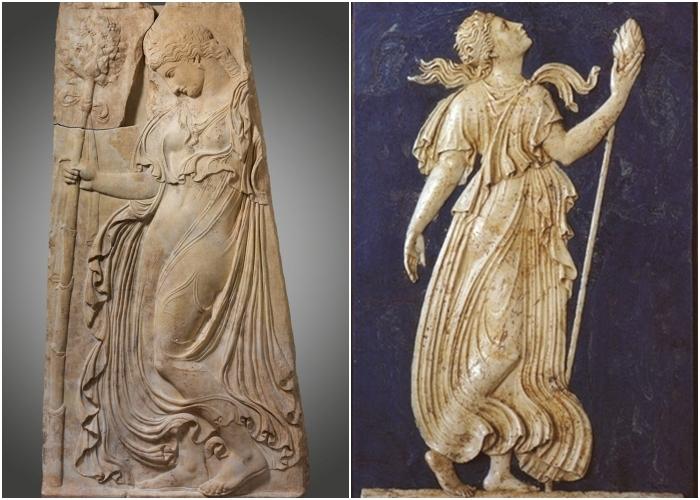 Слева направо: Мраморный рельеф с танцующей менадой, адаптация работы, приписываемой Каллимаху, около 27 г. до н.э. – 14 г.н.э. \ Менада с тирсом.