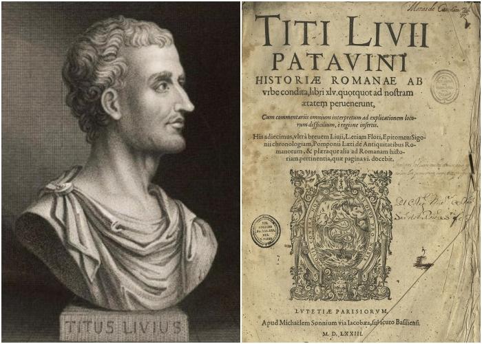 Слева направо: Древнеримский историк Тит Ливий и его частично сохранившаяся «История от основания города».