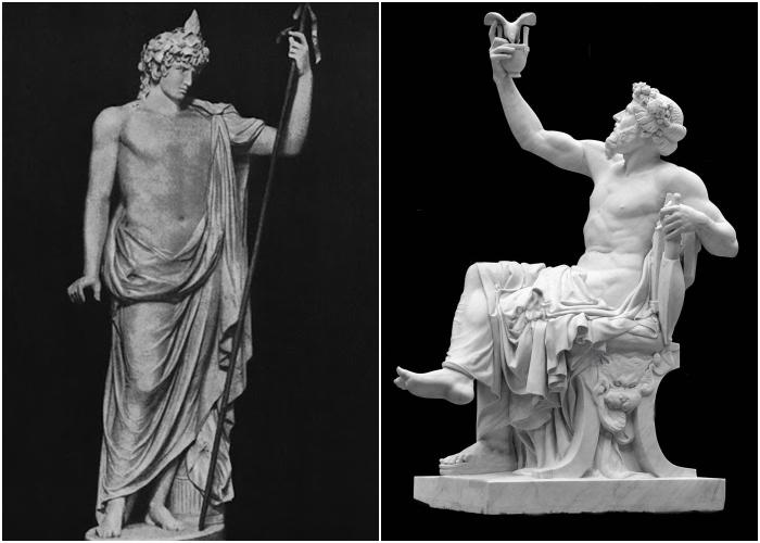 Слева направо: Статуя Антиноя в образе Диониса. \ Статуя Диониса или Вакха с виноградной гроздью и чашей.