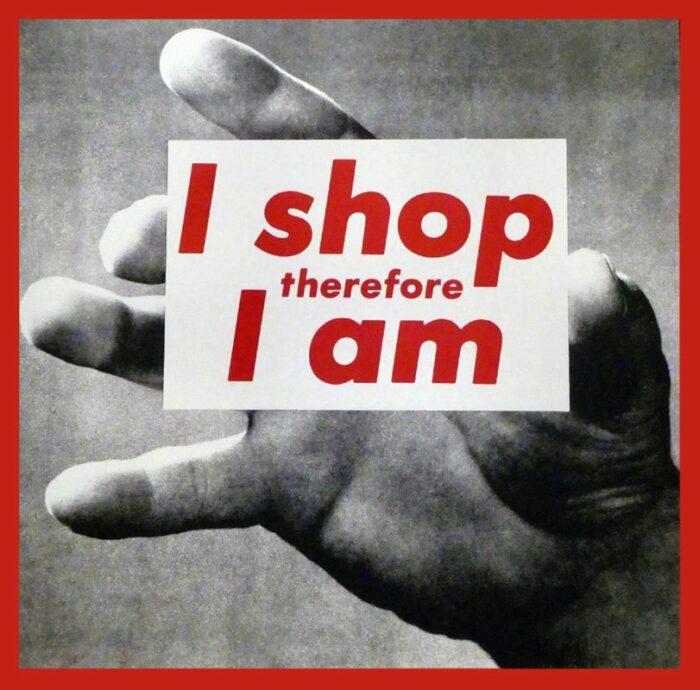 Я делаю покупки, поэтому я..., Барбара Крюгер, 1987 год. \ Фото: google.com.