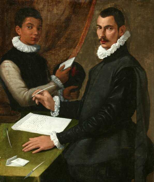 Портрет Неизвестного мужчины и его слуги, Бартоломео Пассаротти, 1579 год. \ Фото: commons.wikimedia.org.