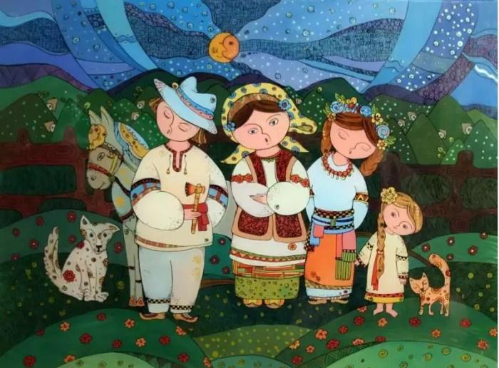 Семья. Картины на стекле. Автор: Натали Курий-Максымив.