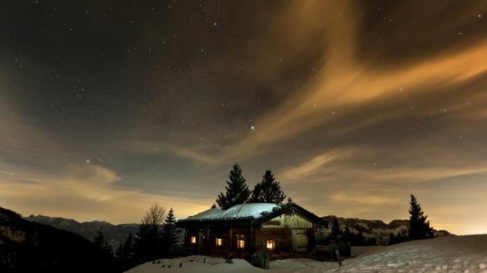Зимняя сказка в ночи.