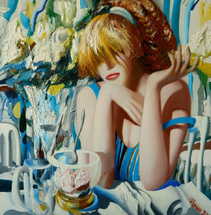 Роза, мороженое и девушка. Автор: Ольга Гречина.