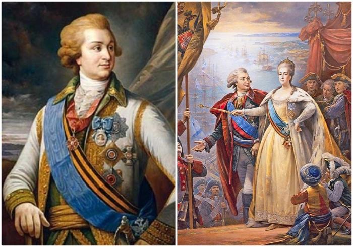 Слева: Григорий Потемкин. \ Справа: Екатерина Великая и Григорий Потемкин. \ Фото: google.com.