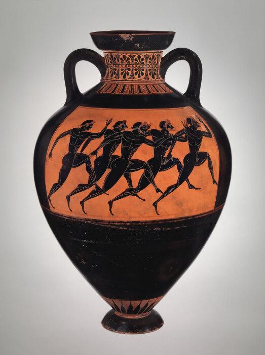 Терракотовая панафинейская призовая амфора, приписываемая художнику Евфилету, 530 год до н. э. \ Фото: historyofsandals.blogspot.com.