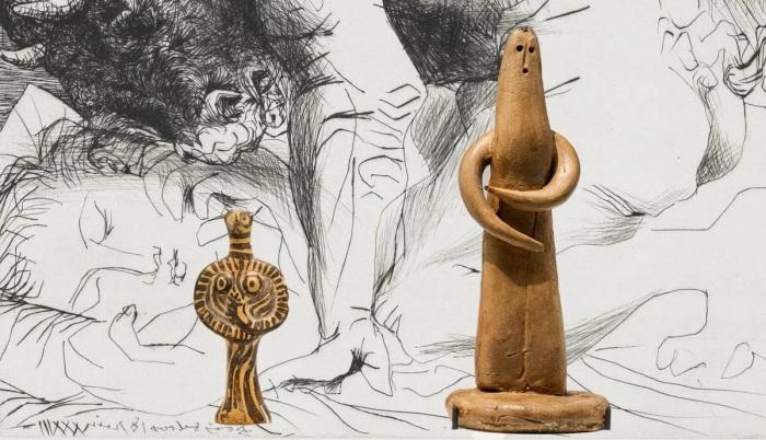 Минотавр, ласкающий рукой спящую девушку с лицом художника, Пабло Пикассо, 1933 год. \ Слева направо: Стоящая женщина, Пабло Пикассо, 1947 год. \ Глиняная женская фигурка, микенская армия в Танагре, 14 век до н. э. \ Фото: google.com.