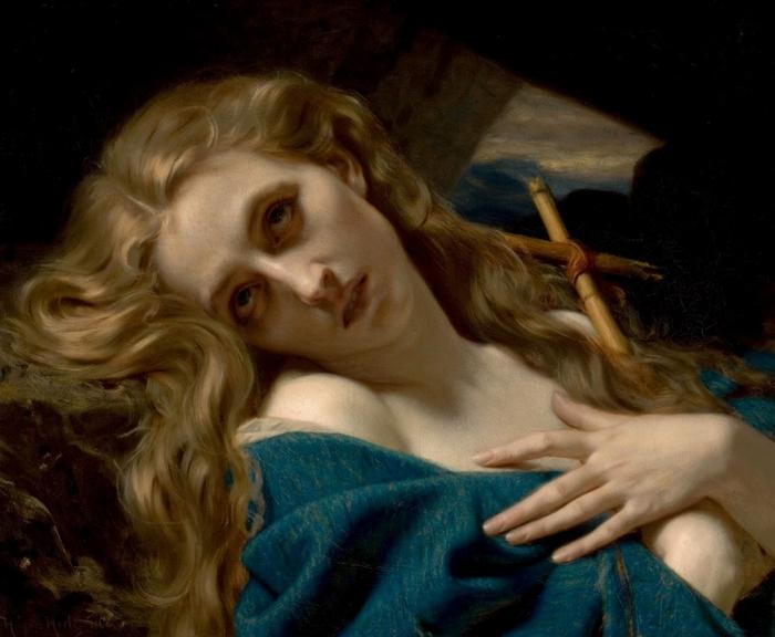 Хьюз Мерле (Hughes Merle) — «Мария Магдалина в пещере» (Mary Magdalene in the Cave), 1868 год.