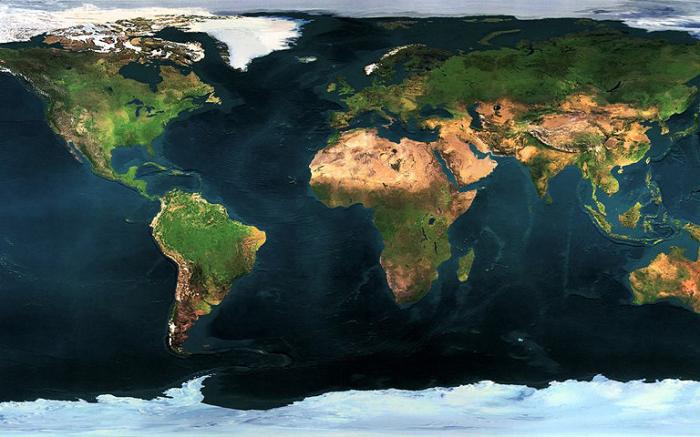 Фото Земли сделанное спутником.