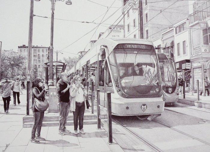 Трамвайная отсановка в Стамбуле. 2014 год.  Автор: Андрей Полетаев.