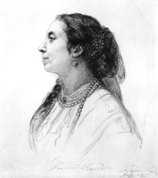 Художник - Людвиг Пич. Портрет Полины Виардо 1865 год.