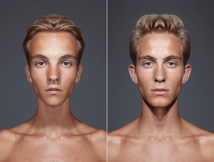 Зеркально скомбинированные части лица. Julian Wolkenstein и Alex John Beck.