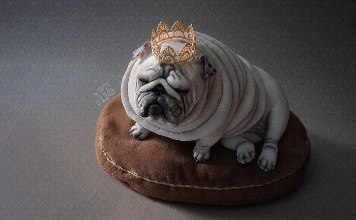 Часто бывает очень нелегко различить на фотографии, где сидят живые собачки, а где арт-мопсы от Лю .