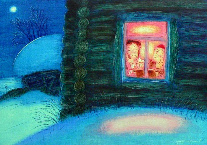 картинка бунин помню долгий зимний вечер окружающие устали