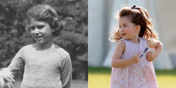 Елизавета в 1936 году. \ Шарлотта на территории поло-клуба в 2018 году.