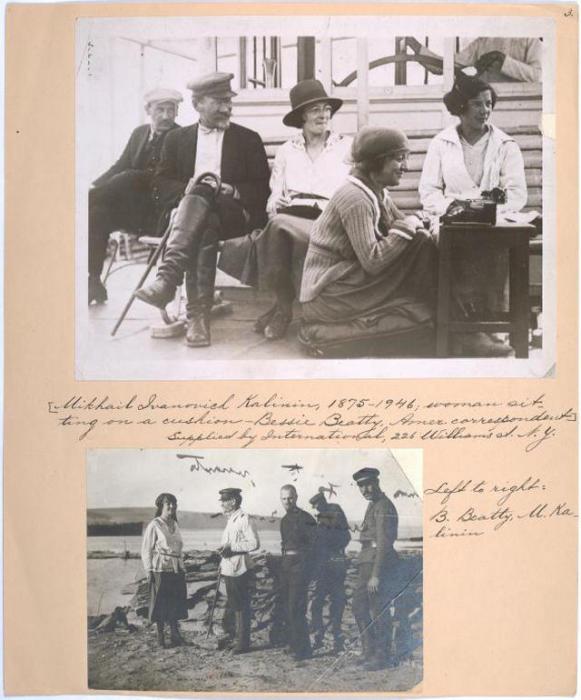 Михаил Иванович Калинин, 1875-1946 гг.; женщина на подушке – американский корреспондент Бэсси Битти. Слева направо: Б. Битти, М. Калинин.