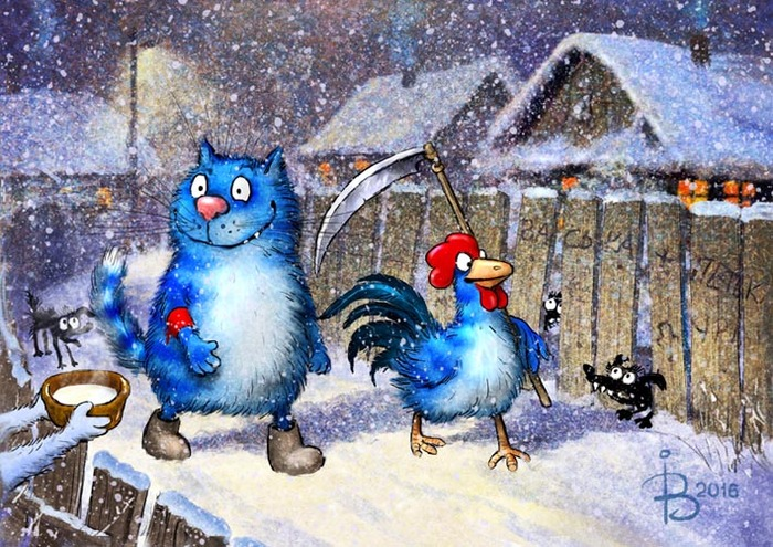Кот и Петух дежурят в Новогоднюю ночь.