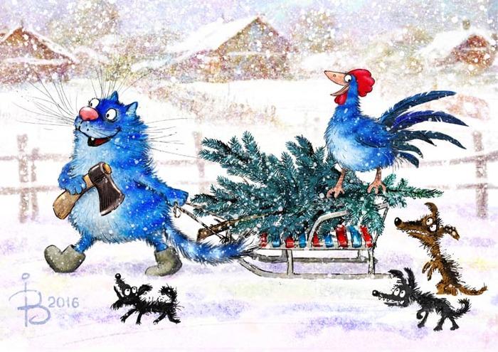 Кот и Петух готовятся к Новому году.