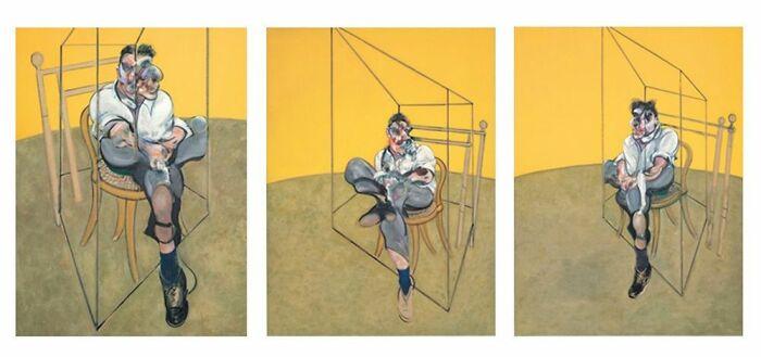Три наброска к портрету Люсьена Фрейда, триптих Фрэнсиса Бэкона, написанный им в 1969 году. \ Фото: lepoint.fr.
