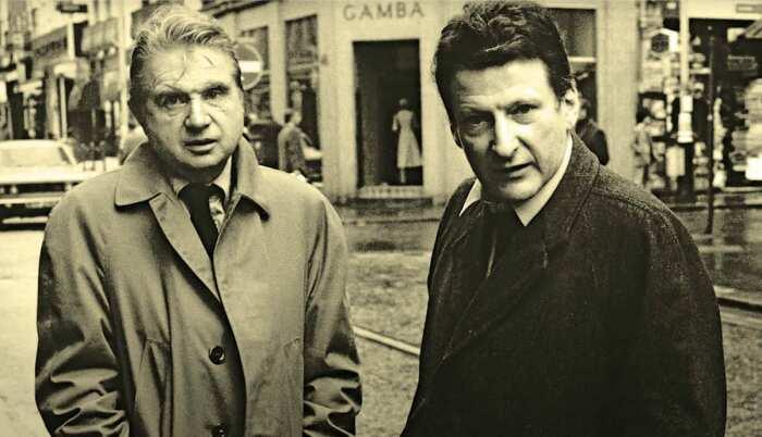 Фрэнсис Бэкон (слева) и Люсьен Фрейд (справа), 1974 год. \ Фото: pinterest.ru.